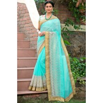 Paaneri Designer Super Net Aqua Color Embroidery Border Saree-Product Code-17120006916