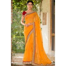 Paaneri Designer Super Net Orange Color With Butti Print Embroidery Border Saree-Product Code-17120007016