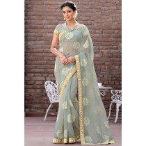 Paaneri Designer Super Net Light Gray Color With Floral Print Embroidery Border Saree-Product Code-17120007216