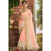 Paaneri Designer Pink Color Supert Net Embroidery Border Saree-Product Code-17120007316