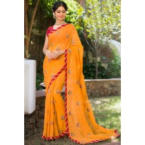 Paaneri Designer Super Net Dark Orange Color With Butti Print Embroidery Border Saree-Product Code-17120007716