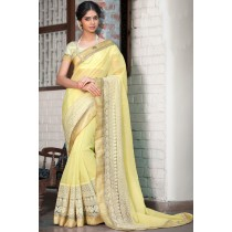 Paaneri Designer Super Net Beige Color Embroidery Border Saree-Product Code-17120008016