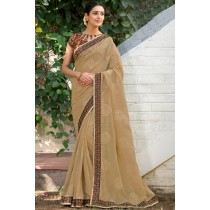 Paaneri Designer Super Net Tan Color With Floral Print Embroidery Border -Product Code-17120008116