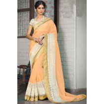 Paaneri Designer Super Net Peach Puff Color Embroidery Border Saree -Product Code-17120008216
