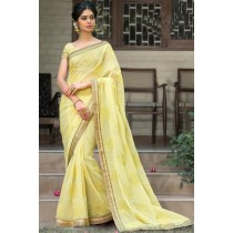 Paaneri Designer Super Net Khakhi Color With Floral Print Embroidery Border Saree-Product Code-17120008416