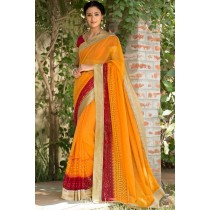 Paaneri Designer Super Net Orange Color Embroidery Border Saree -Product Code-17120008516