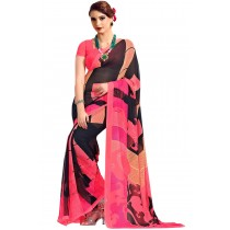 Paaneri Designer Pink With Black Color Georgette Printed Saree -Product Code-17120040030