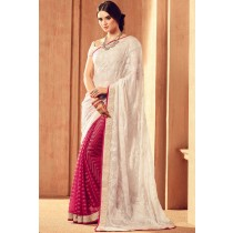 Paaneri Designer Half & Half Cream With Pink Color Floral Print Brasso Saree-Product Code-17120101124