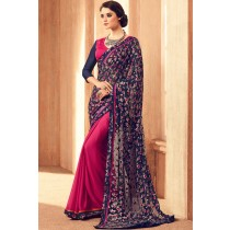 Paaneri Designer Half & Half Navy Blue With Deep Pink Color Floral Print Brasso Saree-Product Code-17120101424