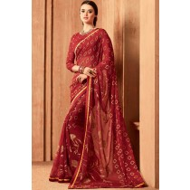 Paaneri Designer Brown Color Floral Print Brasso Saree-Product Code-17120102124