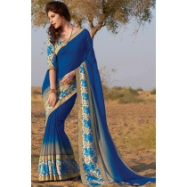 Paaneri Designer Royal Blue Color Stone Padding Bhagalpuri Print Georgette Printed Saree-Product Code-17120458421