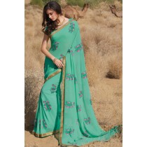 Paaneri Designer Sea Green Color Embroidery Zari Border Georgette Printed Saree-Product Code-17120458521