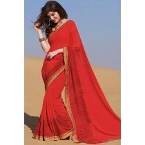 Paaneri Designer Red Color Embroidery Stone Zari Embroidered Border Georgette Printed Saree-Product Code-17120458621