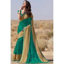 Paaneri Designer Dark Green Color Embroidery Diamonds Resham Work Border Chiffon Saree-Product Code-17120458721