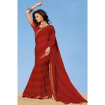 Paaneri Designer Maroon Color Stone Brocade Fancy Border Padding Chiffon Saree-Product Code-17120459021