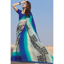 Paaneri Designer Multicolor Embroidery Pashmina Border Georgette Printed Saree -Product Code-17120459321