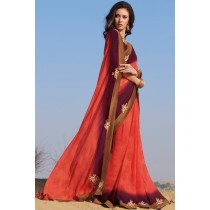 Paaneri Designer Peach With Wine Color Cut Patch Work Stone Raw Silk Lace Chiffon Saree -Product Code-17120459821
