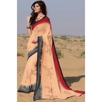 Paaneri Designer Multicolor Padding Embroidery Stone Rwa Silk Lace Georgette Printed Saree-Product Code-17120459921