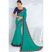 Paaneri Designer Sea Green Color  Fancy Border Checks Stone Satin Silk Saree-Product Code-17120467026
