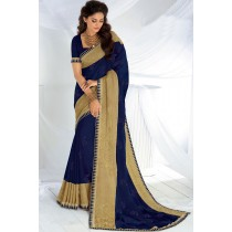 Paaneri Designer Navy Blue Color Embroidery Zari Work Chiffon Saree-Product Code-17120467226