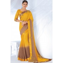 Paaneri Designer Orange Color Fancy Zari Stone Work Satin Silk Border Chiffon Saree-Product Code-17120467326