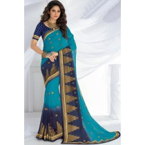 Paaneri Designer Blue With Navy Blue Color Zari Work Satin Silk Border Georgette Saree-Product Code-17120467526