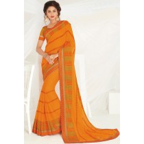 Paaneri Designer Orange Color Embroidery Stone Work Raw Silk Border Chiffon Saree-Product Code-17120467626
