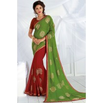 Paaneri Designer Green With Red Color Zari Work Fancy Border Chiffon Saree-Product Code-17120467726