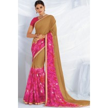 Paaneri Designer Pink With Beige Color Embroidery Zari Border Chiffon Saree-Product Code-17120467826