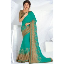 Paaneri Designer Light Sea Green Color Zari Stone Border Chiffon Saree-Product Code-17120467926