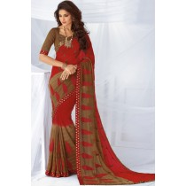 Paaneri Designer Red With Brown Color Embroidery Satin Silk Border Foil Chiffon Saree-Product Code-17120468026
