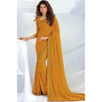 Paaneri Designer Mustard Color Embroidery Stone Zari Border Georgette Saree-Product Code-17120468126