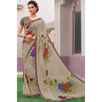 Paaneri Designer Light Tan Color Floral Print Marble Chiffon Saree-Product Code-17120468725