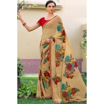 Paaneri Designer Goldenrod Color Floral Print Marble Chiffon Saree-Product Code-17120468825