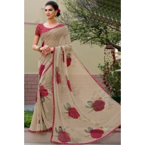 Paaneri Designer Beige Color Floral Print Marble Chiffon Saree-Product Code-17120469125