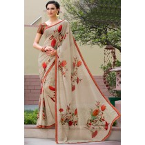 Paaneri Designer Off White Color Floral Print Marble Chiffon Saree-Product Code-17120469225