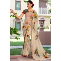 Paaneri Designer Cream Color Floral Print Marble Chiffon Saree-Product Code-17120469325