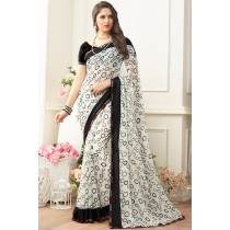 Paaneri Designer Off White Color Satin Lace Georgette Printed Saree-Product Code-17120470427