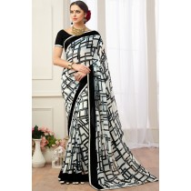 Paaneri Designer Multicolor Satin Lace Georgette Printed Saree-Product Code-17120470527