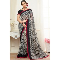 Paaneri Designer Black With White Color Stone Work Satin Lace Georgette Printed Saree-Product Code-17120470727