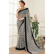 Paaneri Designer White With Black Color Satin Lace Georgette Printed Saree-Product Code-17120470927