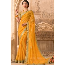 Paaneri Designer Orange Color Embroidery Border Floral Print Georgette Printed Saree-Product Code-17120471629