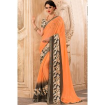 Paaneri Designer Light Salmon Color Floral Print Border Georgette Printed Saree-Product Code-17120471729