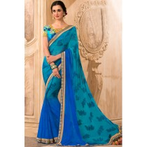 Paaneri Designer Dark Turquoise With Blue Color Stone Work Floral Print Chiffon Saree-Product Code-17120471929