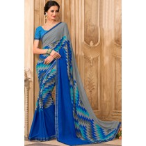 Paaneri Designer Blue With Grey Color Georgette Printed Saree -Product Code-17120472229