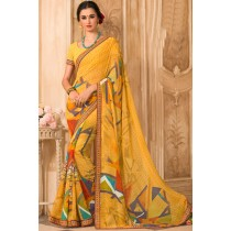 Paaneri Designer Yellow Color Georgette Printed Saree-Product Code-17120472429