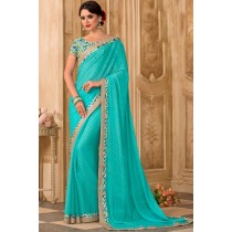 Paaneri Designer Light Sea Green Color Stone Work Georgette Printed Saree-Product Code-17120472529