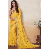Paaneri Designer Yellow Color Floral Print Georgette Print Saree-Product Code-17120481834