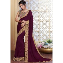 Paaneri Designer Dark Purple Embroidery Work Silk Georgette Saree -Product Code-17120481934