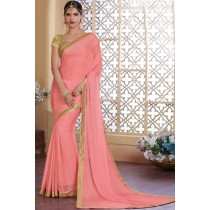 Paaneri Designer Pink Color Stone Work Georgette Printed Saree -Product Code-17120482034